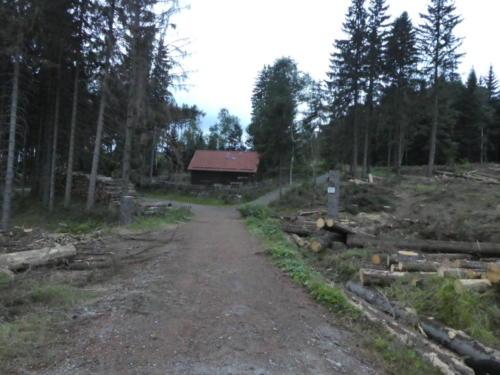 Blick zur Bergwachthütte