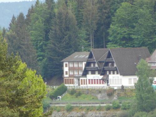 Blick zu einem verlassenen (??) Hotel am Schwarzenbachstausee