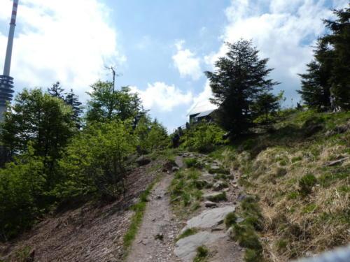 Der Weg ist eng und steinig, der Hang steil